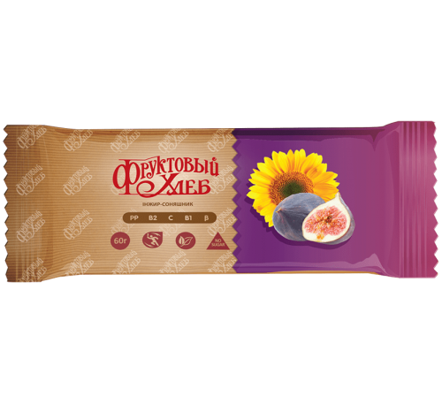 Батончик здорового питания «Фруктовый Хлеб», Инжир-подсолнечник